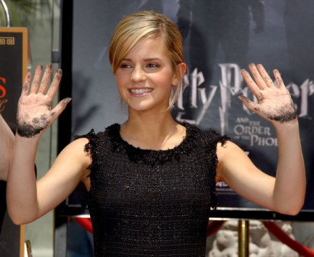 "HOLLYWOOD - JULY 09: Actress Emma Watson at the ""Harry Potter and the Order of the Phoenix"" - Hand, Footprint and Wand ceremony at the Grauman's Chinese Theatre on July 9, 2007 in Hollywood, California.  (Photo by Gregg DeGuire/WireImage) *** Local Caption *** Emma Watson"