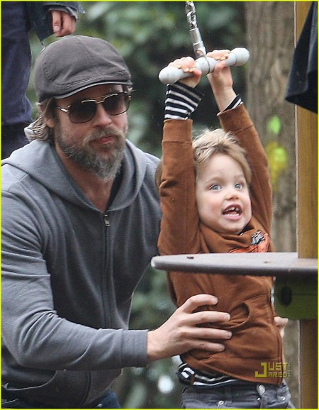 EXC BRAD PITT TAKES THE KIDS TO THE PARK IN VENICE AS THE WEATHE